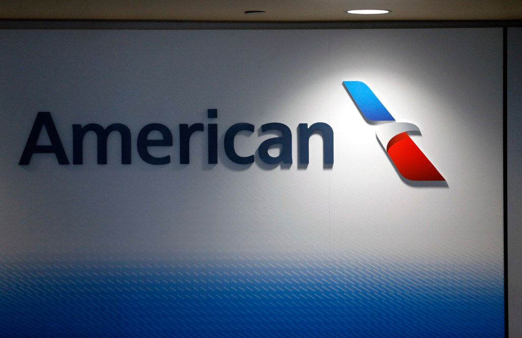 An American Airlines logo in the newly renovated Terminal  A at Dallas-Fort Worth International Airport in January 2017