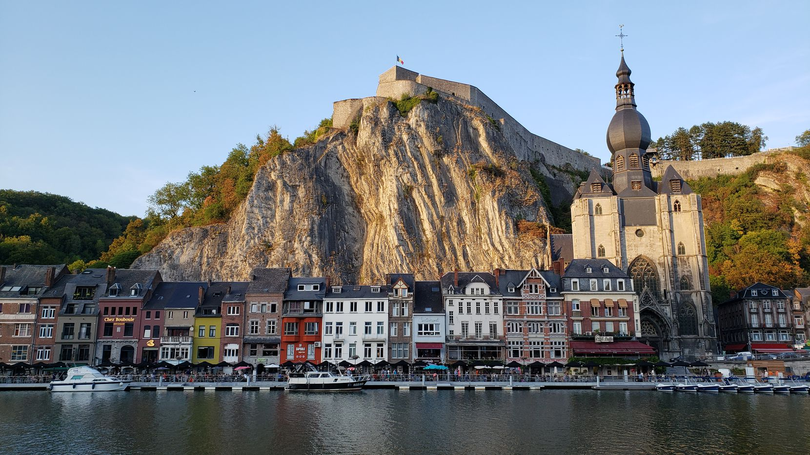 Dinant has a picturesque setting on the Meuse River, in the shadow of its 200-year-old mountaintop citadel.