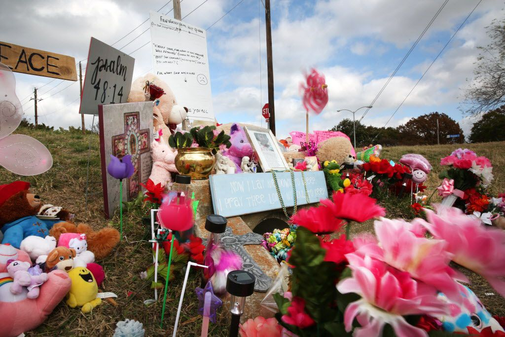 The memorial where the body of Sherin Mathews, 3, was found in a culvert in Richardson on Oct. 23.