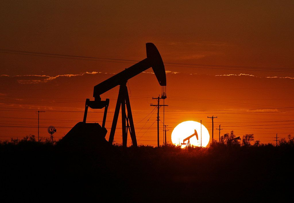 A pump jack operates in an oil field in the Permian Basin in Texas on June 11, 2019. (Jacob Ford/Odessa American via AP, File)