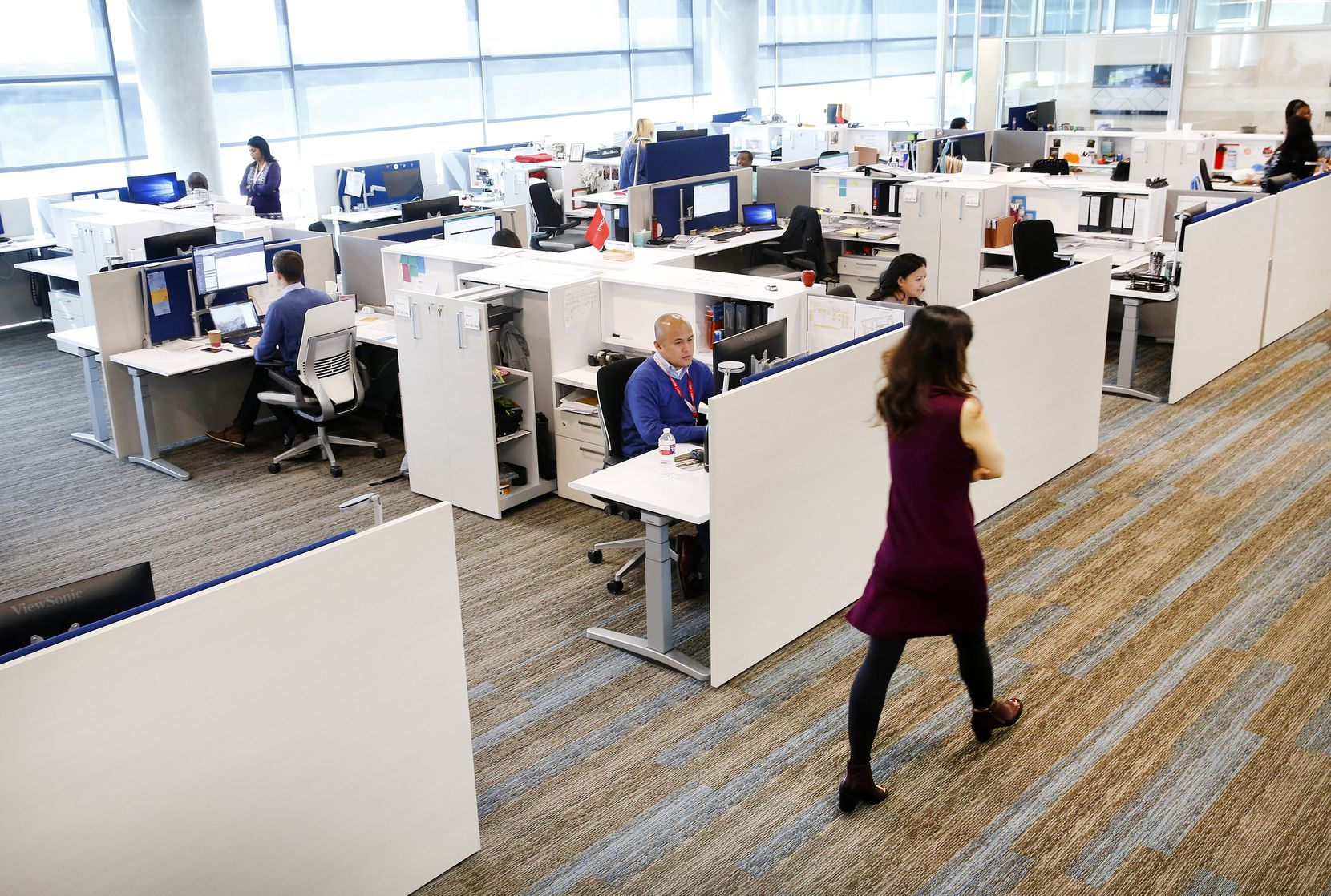 Spacious and open office spaces in Toyota's new North American headquarters campus in Plano.