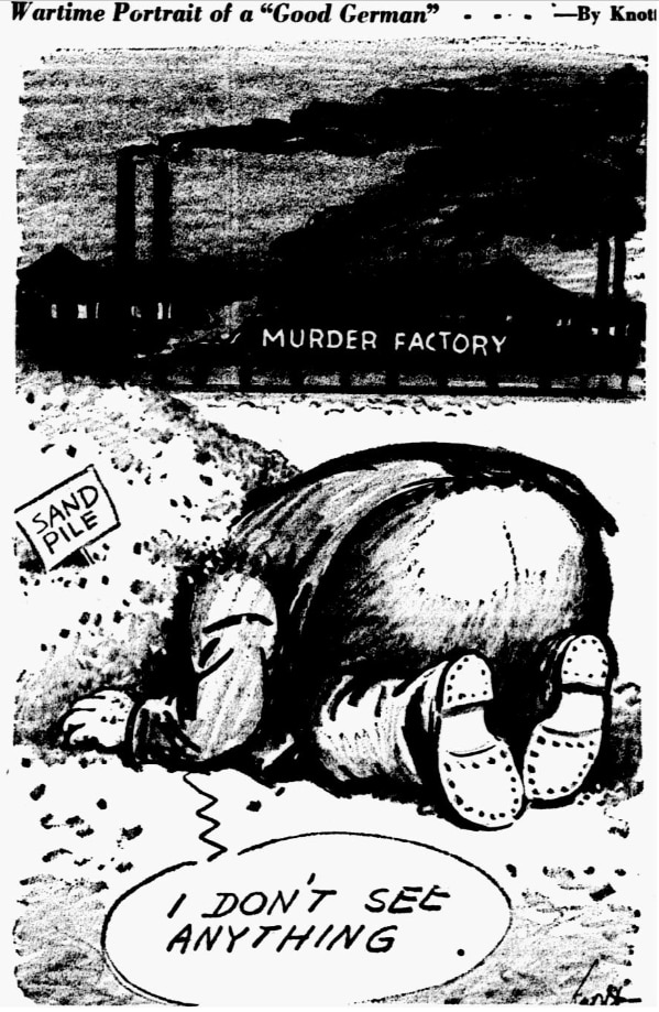 Cartoon featured in the May 6, 1945 edition of The Dallas Morning News.