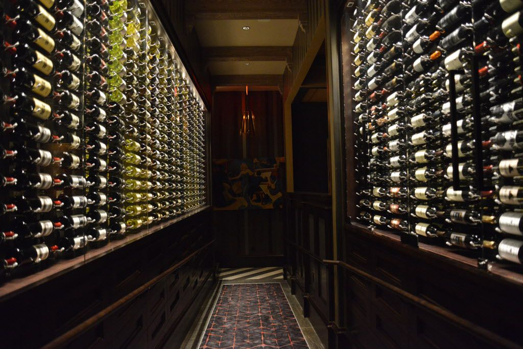 A hallway lined with wine at Ruth's Chris Steak House opening on Cedar Springs Road in Dallas on Thursday, Nov., 5, 2015. (Rachel Woolf/The Dallas Morning News)