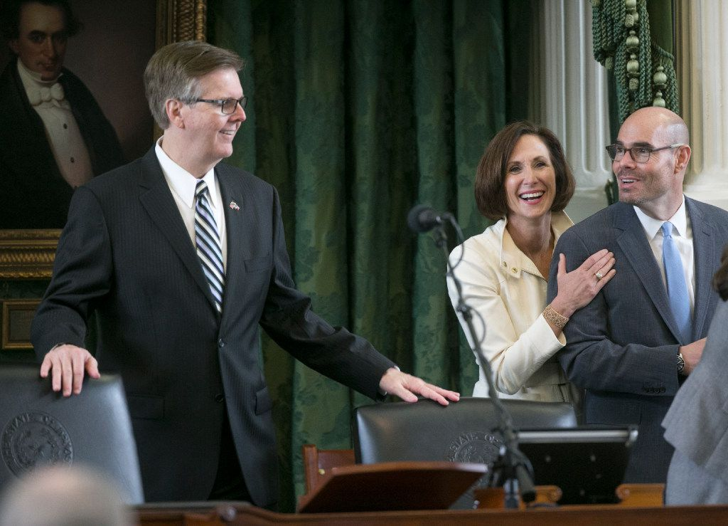 Texas Lt. Governor Dan Patrick laughed with Sen. Lois Kolkhorst and visiting Rep. Dennis Bonnen after his brief visit to chambers in May. Kolkhorst has authored a bathroom bill that has not yet been filed for the special legislative session. Friday morning may be the only chance the public gets to weigh in on the controversial legislation.