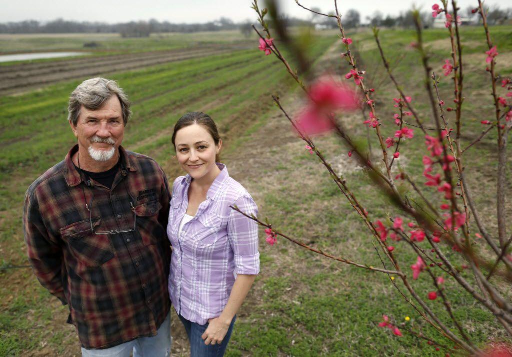 Jack and daughter Megan Neubauer on their farm, Pure Land Organic in McKinney.