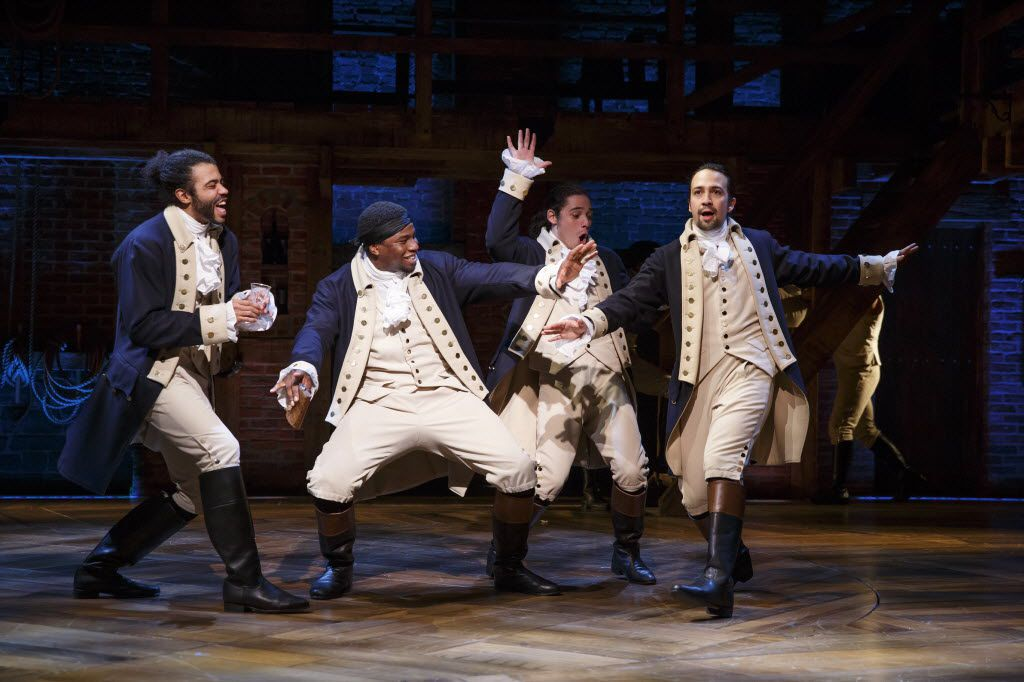 From left, Daveed Diggs, Okieriete Odnaodowa, Anthony Ramos and Lin-Manuel Miranda in Hamilton, nominated for a record 16 Tony Awards, including Best Musical, on Broadway.