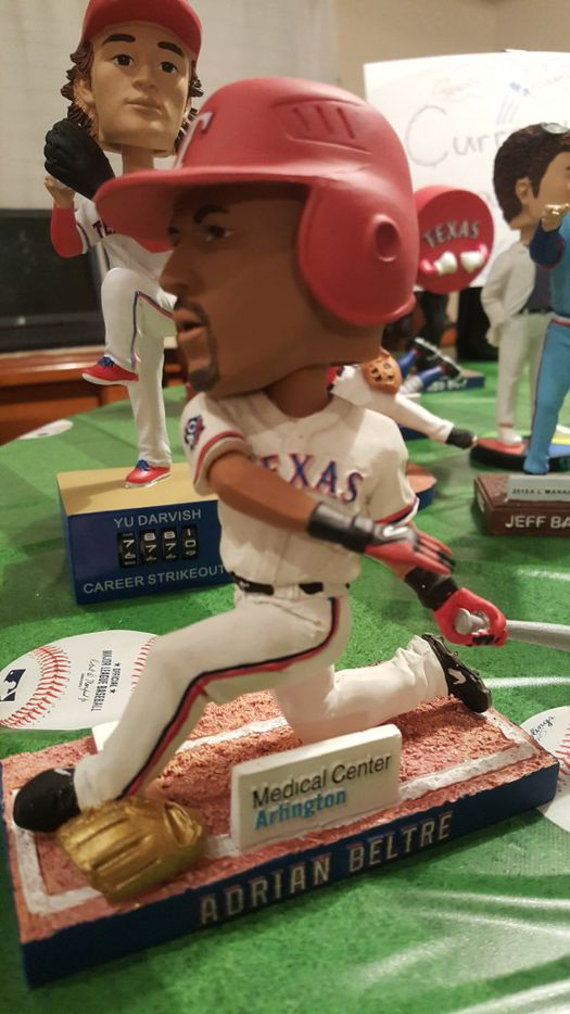 An Adrian Beltre bobblehead from the collection of Johnnie Lehew. The Fort Worth resident has been collecting the figurines since 2001. (Tommy Noel/Staff Photographer)
