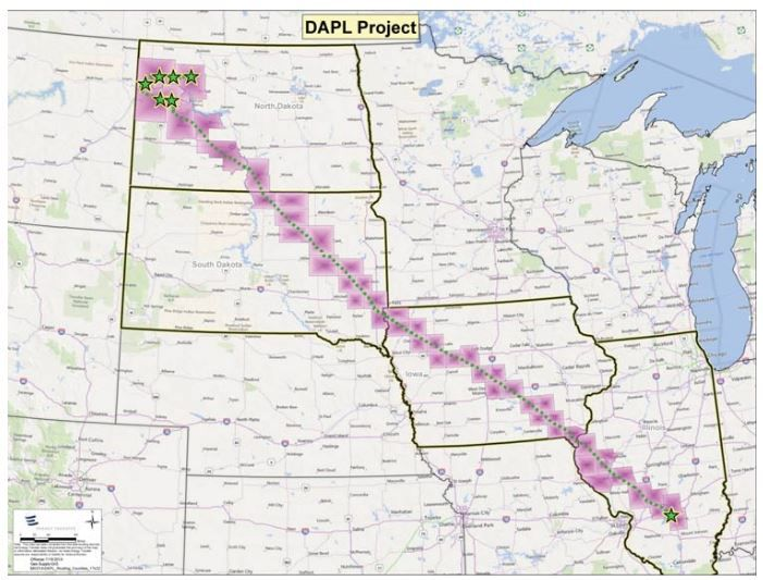 The pipeline route stretches from North Dakota to Illinois.