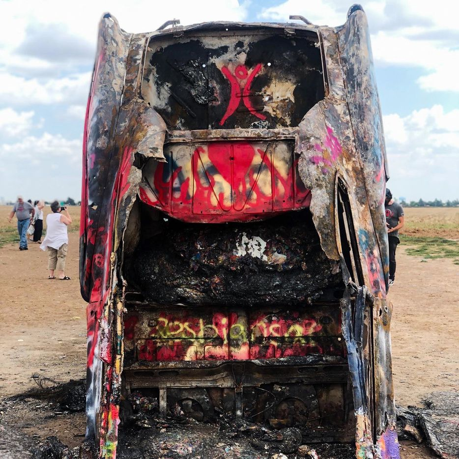 The aftermath of the fire that burned the oldest of the 10 Cadillacs at the famous Cadillac Ranch in Amarillo, Texas. The fire was reported at 2am Sunday morning, Sept. 8, 2019 and burned off layers of paint but left the car structurally sound. (Bryan Brumley/Courtesy)