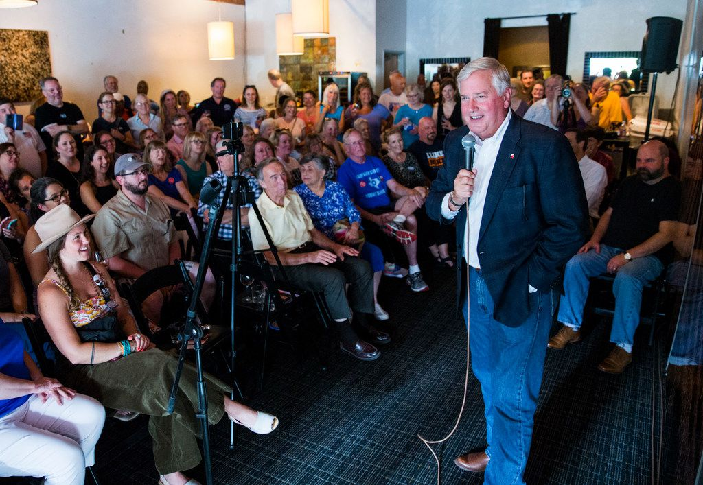 Democratic candidate for lieutenant governor Mike Collier spoke at a town hall meeting hosted by the Funky East Dallas Democrats at 2018 Kidwell Street on July 2.
