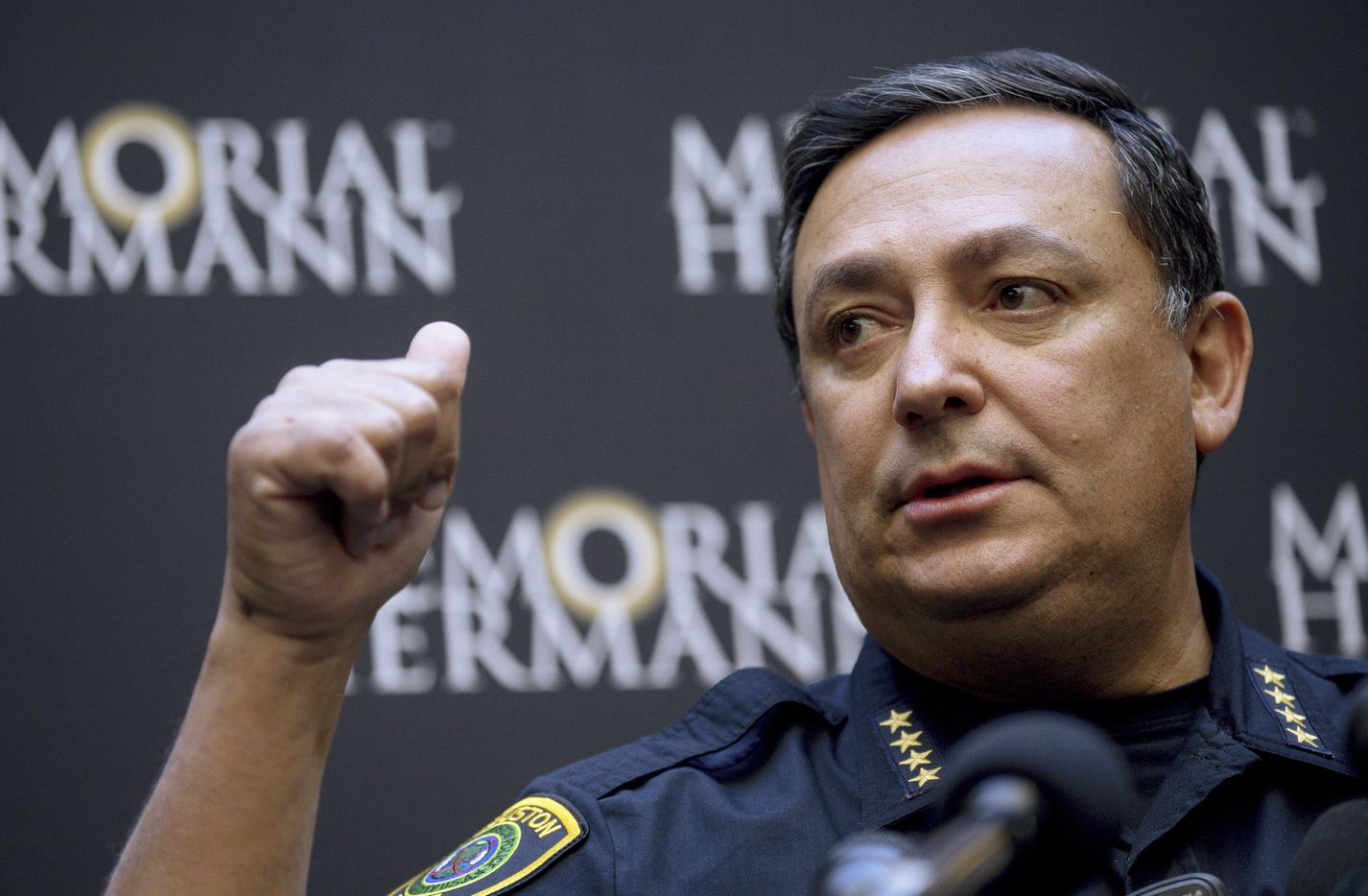 Houston police Chief Art Acevedo talks to reporters during a news conference at Memorial Hermann Hospital on Tuesday.