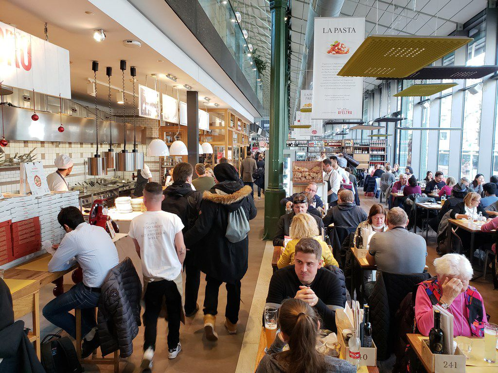 Eataly Las Vegas is designed to evoke the feel of a large European market, with high ceilings and big windows like this Eataly location in Munich, Germany.
