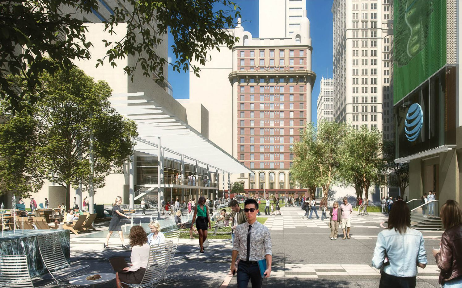 The $100 million redo of AT&T's downtown Dallas campus includes new features to bring in downtown visitors and residents.