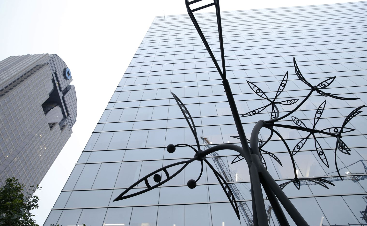 Again in the Meadow by James Surls is on display at KPMG Plaza at Hall Arts in the Arts District in Dallas.