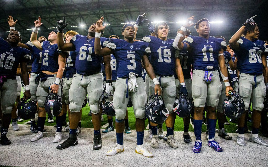 Frisco Lone Star sing the school song after a 63-14 win over Frisco Independence on Thursday, October 10, 2019 at the Ford Center at The Star in Frisco. (Ashley Landis/The Dallas Morning News)