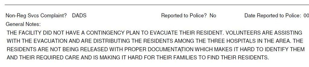 Part of a complaint filed with the state regarding Lake Arthur Place and its actions during Hurricane Harvey. The nursing home's parent company, Senior Care Centers, says it could not evacuate and transport residents from the Port Arthur facility without a government order. The state says that's not the case.