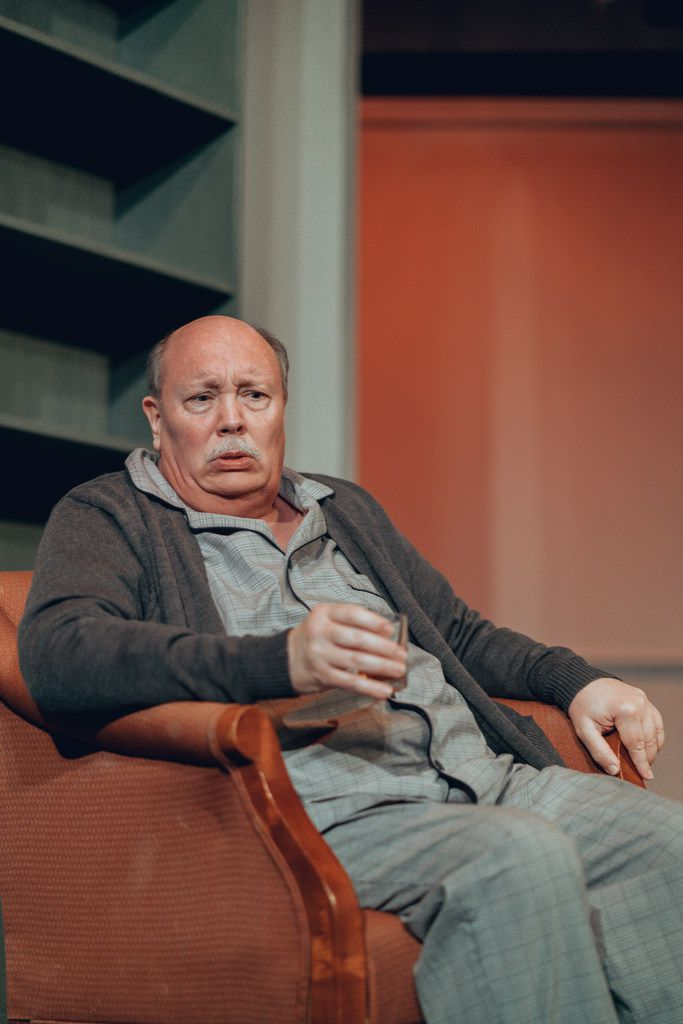 David Coffee plays the lead character in The Father: A Tragic Farce  continuing at Stage West in Fort Worth through April 28, 2019.