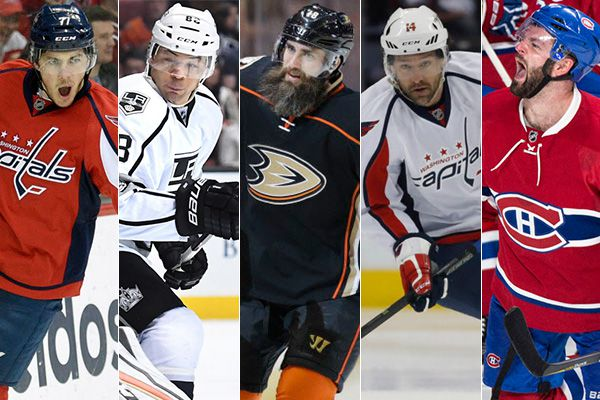 From left to right: T.J. Oshie, Jarome Iginla, Patrick Eaves, Justin Williams and Alexander Radulov.
