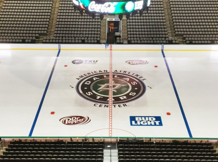 A look at the new center-ice logo for Dallas Stars games at the American Airlines Center.