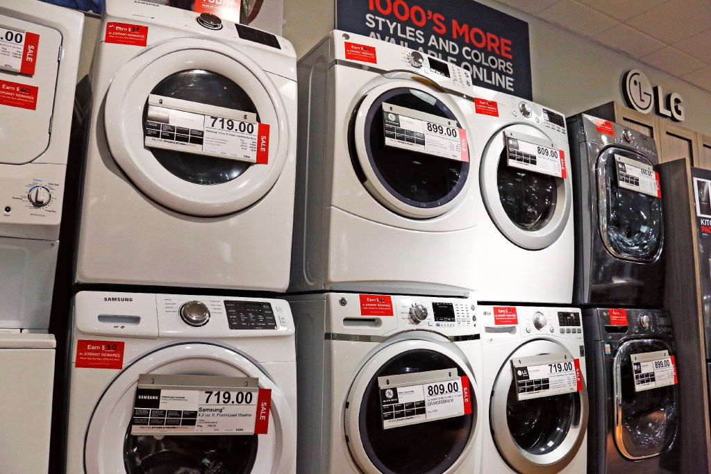 Washers and dryers appear on display at a J.C. Penney store in Pittsburgh.