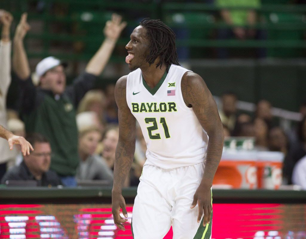 Dec 6, 2015; Waco, TX, USA; Baylor Bears forward Taurean Prince (21) celebrates after scoring against the Vanderbilt Commodores during the first half at the Ferrell Center. Mandatory Credit: Jerome Miron-USA TODAY Sports