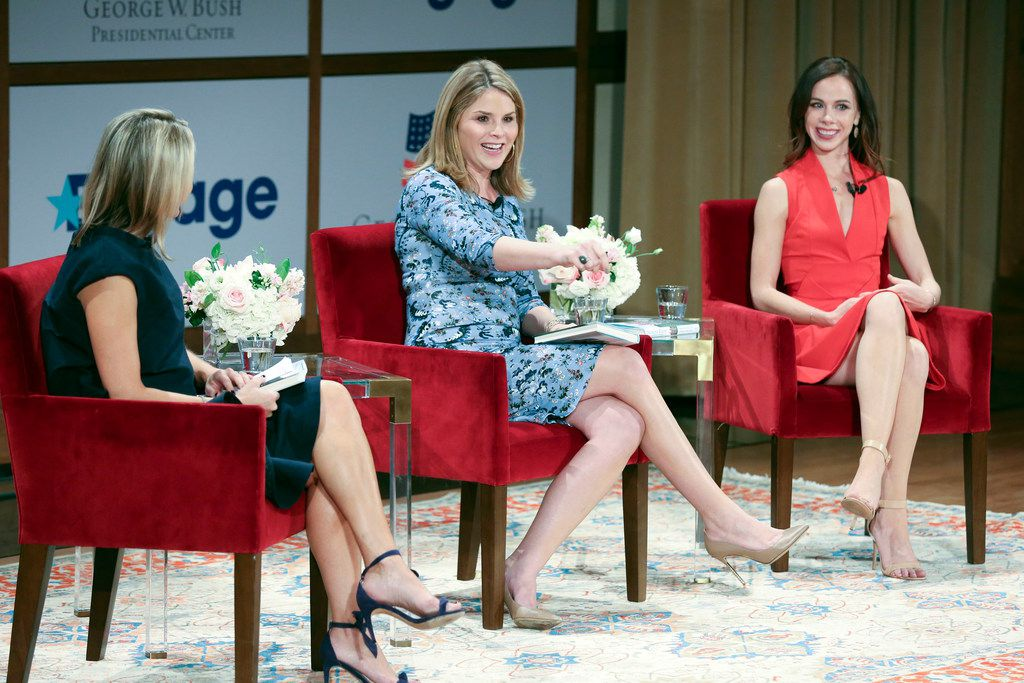 Jenna Bush Hager (center) and sister Barbara Bush (right) speak at the Sisters First: Stories from Our Wild and Wonderful Life event promoting their book at George W. Bush Presidential Center in Dallas  on Nov. 5.