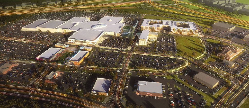 Rendering of an overview of what RedBird, the former Southwest Center Mall, will look like when current plans that include a Marriott Courtyard, offices, a bank, additional retail, green space and apartments are completed.