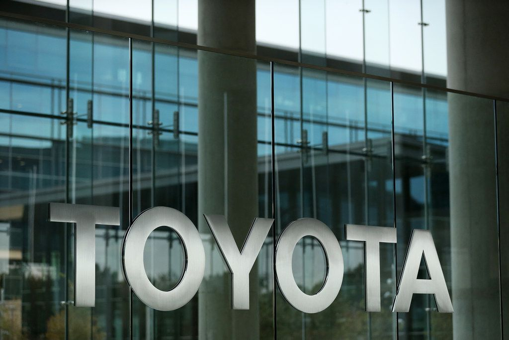 Signage in the front entrance of Toyota Motor North America headquarters in Plano.