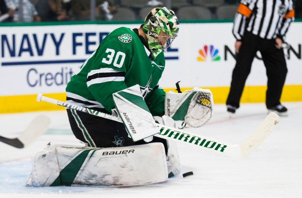 Dallas Stars goaltender Ben Bishop (30) stops a shot at the goal during the second period of Game 3 of Round 2 of NHL playoffs between the Dallas Stars and the St. Louis Blues on Monday, April 29, 2019 at American Airlines Center in Dallas.