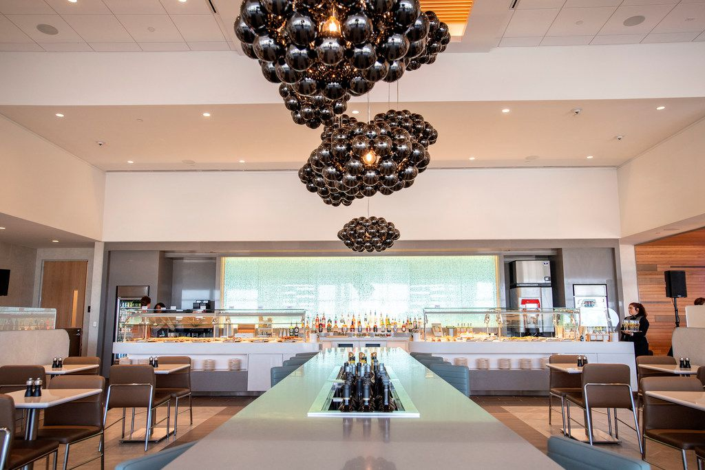 Hot and cold food buffets and a wine bar are available in the new American Airlines Flagship Lounge on Monday, May 13, 2019 in Terminal D at DFW Airport in Grapevine, Texas. (Jeffrey McWhorter/Special Contributor)