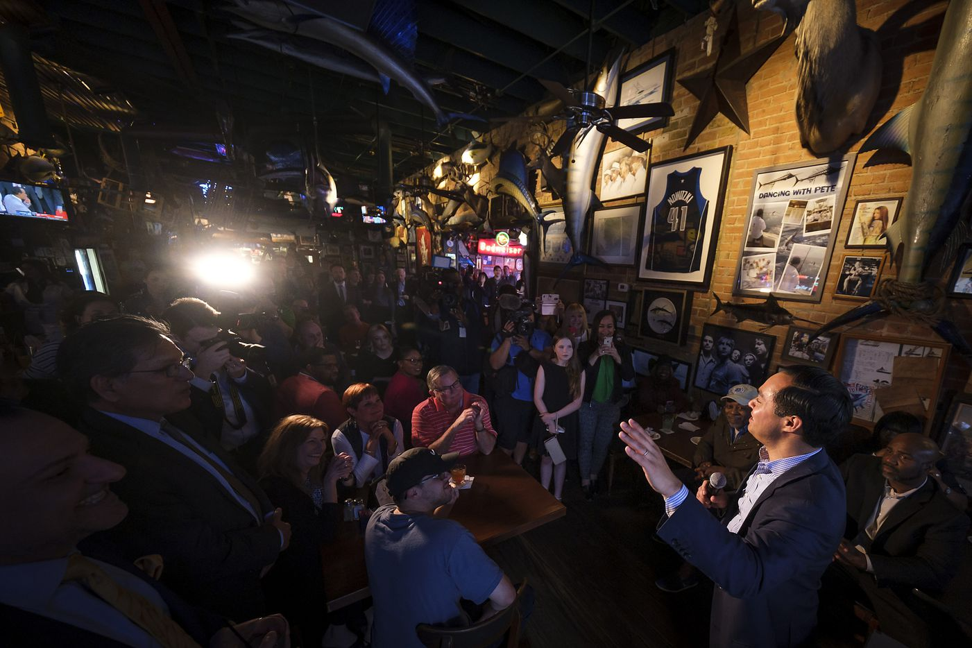 Presidential candidate Julian Castro speaks during a campaign event at St. Pete's Dancing Marlin on Tuesday, March 19, 2019, in Dallas.