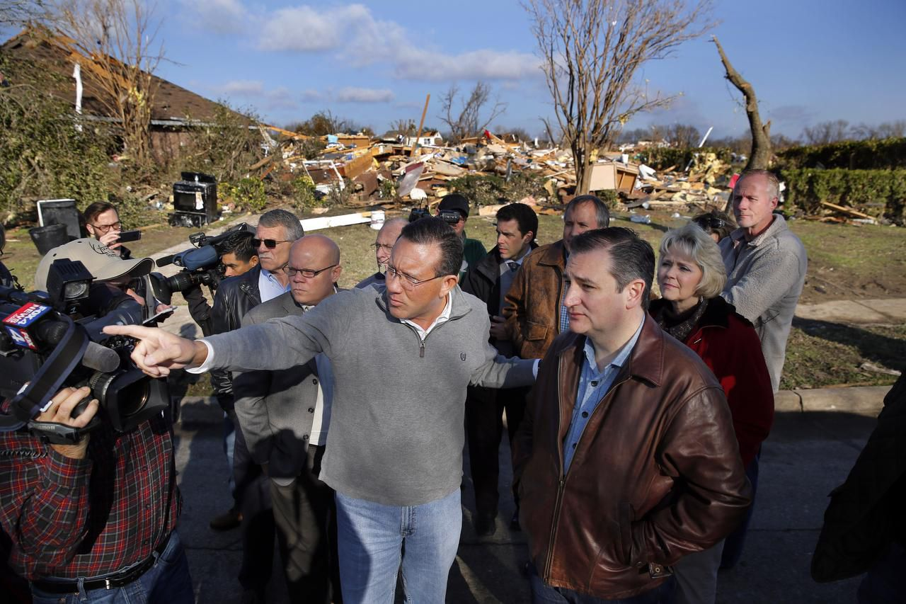 """Rowlett Mayor Todd Gottel took Sen. Ted Cruz on a tour of tornado-ravaged areas a few days after the Dec. 26 twister. """"Todd loves that city and loves everybody in it,"""" says state Rep. Cindy Burkett of Sunnyvale."""