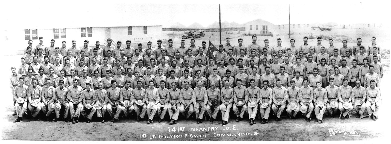 The all Mexican-American Company E of the 141st U.S. Army Infantry, 2nd Battalion, 36th Division, is pictured at Camp Bowie, near Brownwood, Texas in 1941.