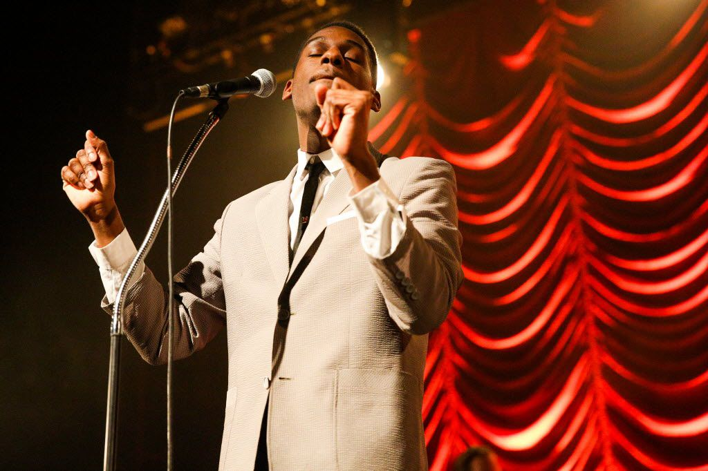 Leon Bridges performs at the Fonda Theatre on Tuesday, Nov. 10, 2015, in Los Angeles.