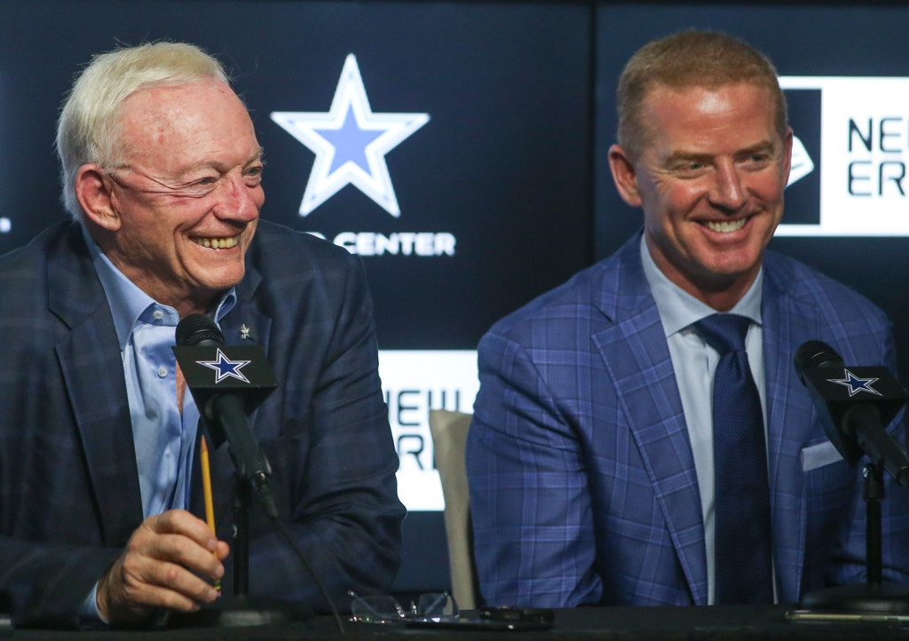 Dallas Cowboys owner Jerry Jones, left, and head coach Jason Garrett laugh at a joke by executive vice president Stephen Jones, not pictured, while speaking to reporters after the second night of the NFL Draft on Friday, April 26, 2019 at The Star in Frisco, Texas. (Ryan Michalesko/The Dallas Morning News)