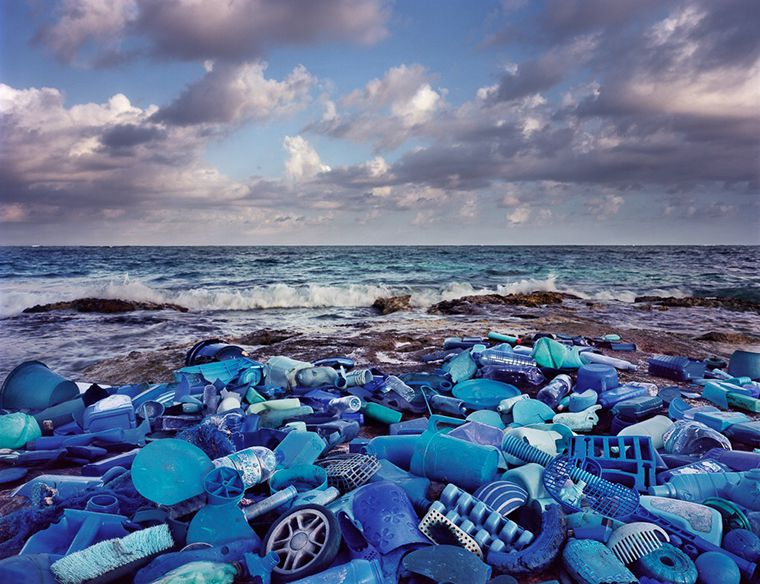 """New York multimedia artist Alejandro Duran used plastic waste that floated up along Mexico's Caribbean coast to create """"Washed Up,"""" an environmental installation and photo project. This photo is Mar (Sea). Duran will discuss the project June 30 at 516 Arts in Albuquerque, NM, as part of PhotoSummer 2016."""