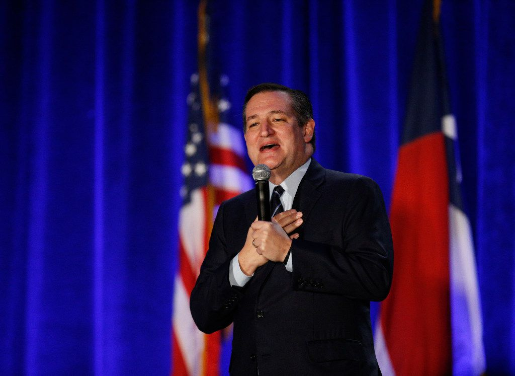Senator Ted Cruz speaks during the Dallas County Republican Party's Reagan Day Dinner at the Omni Dallas Hotel in Dallas on March 11, 2017. (Nathan Hunsinger/The Dallas Morning News)