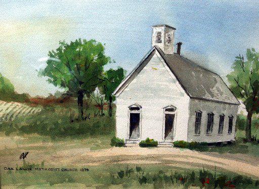 Painting of original Oak Lawn Methodist Church building.