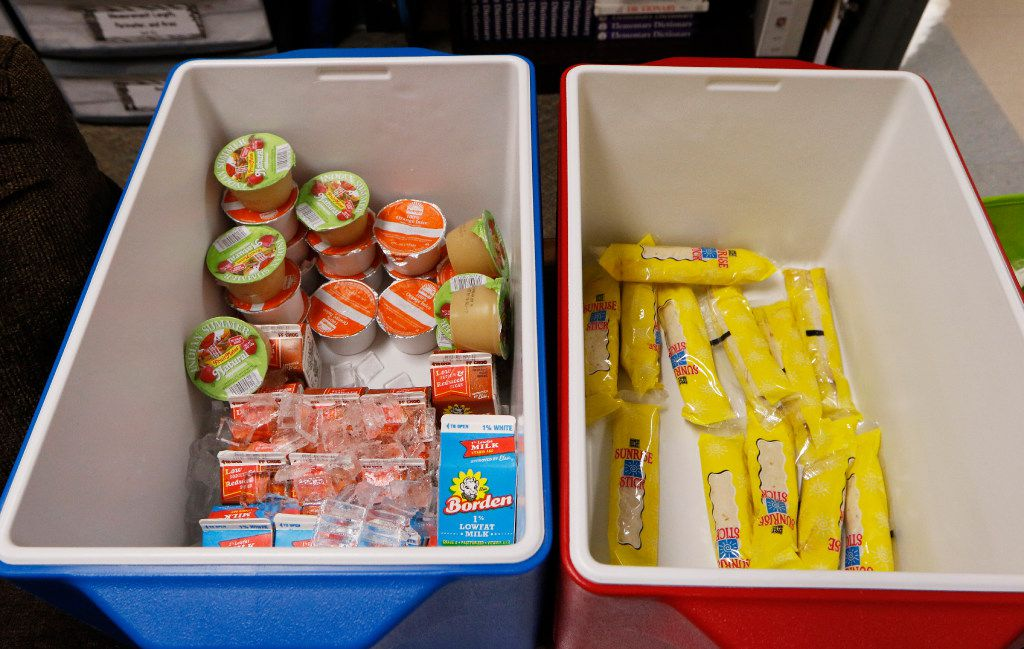 Breakfast is stored in containers in classrooms at Heather Glen Elementary School. (David Woo/Staff Photographer)