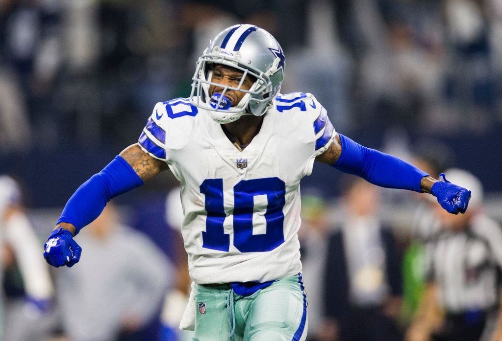 FILE - Cowboys receiver Tavon Austin (10) celebrates his punt return in the fourth quarter of a wild-card playoff game against the Seahawks on Saturday, Jan. 5, 2019, at AT&T Stadium in Arlington. (Ashley Landis/The Dallas Morning News)