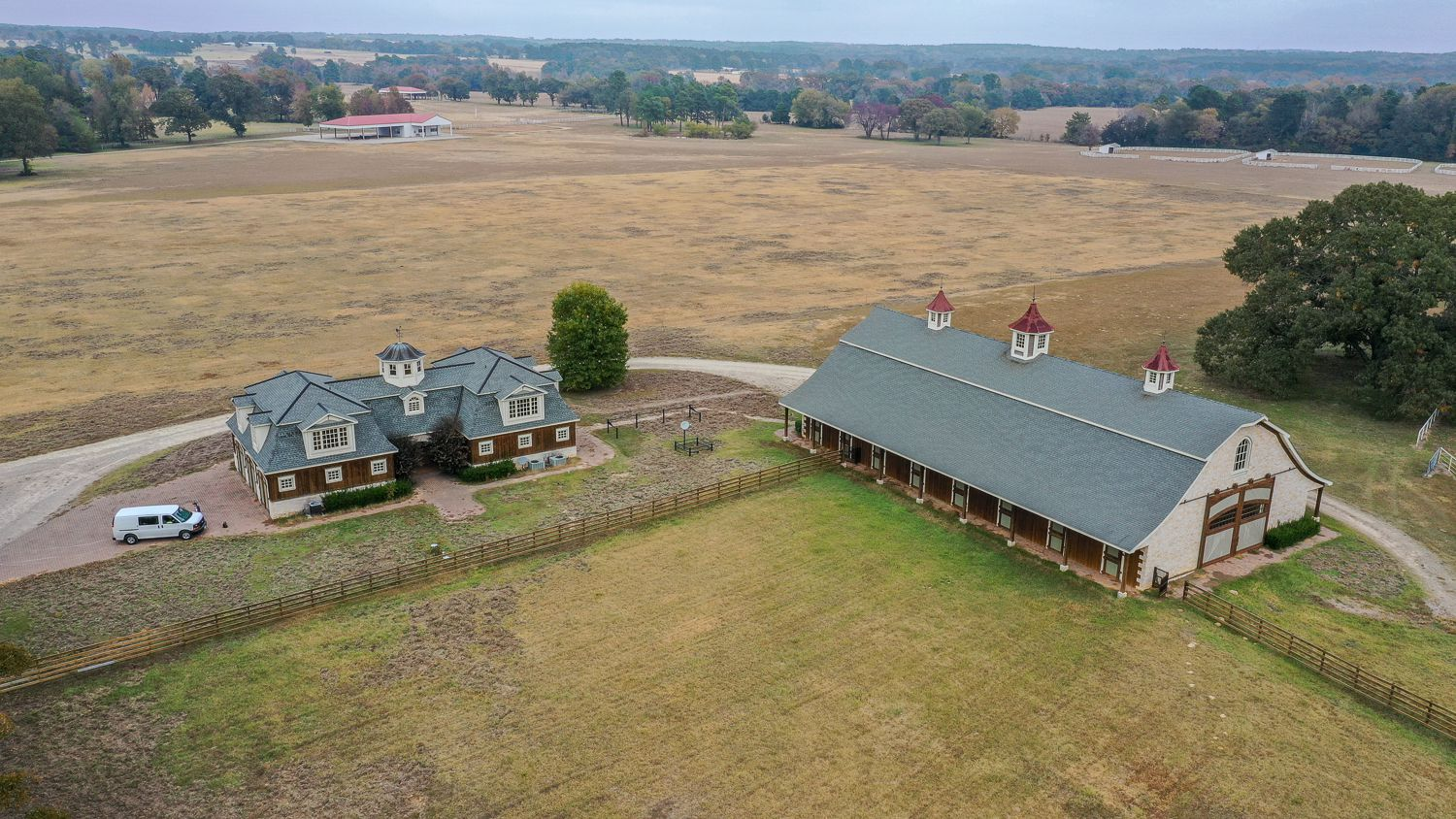 There are several garages and barns on the ranch.