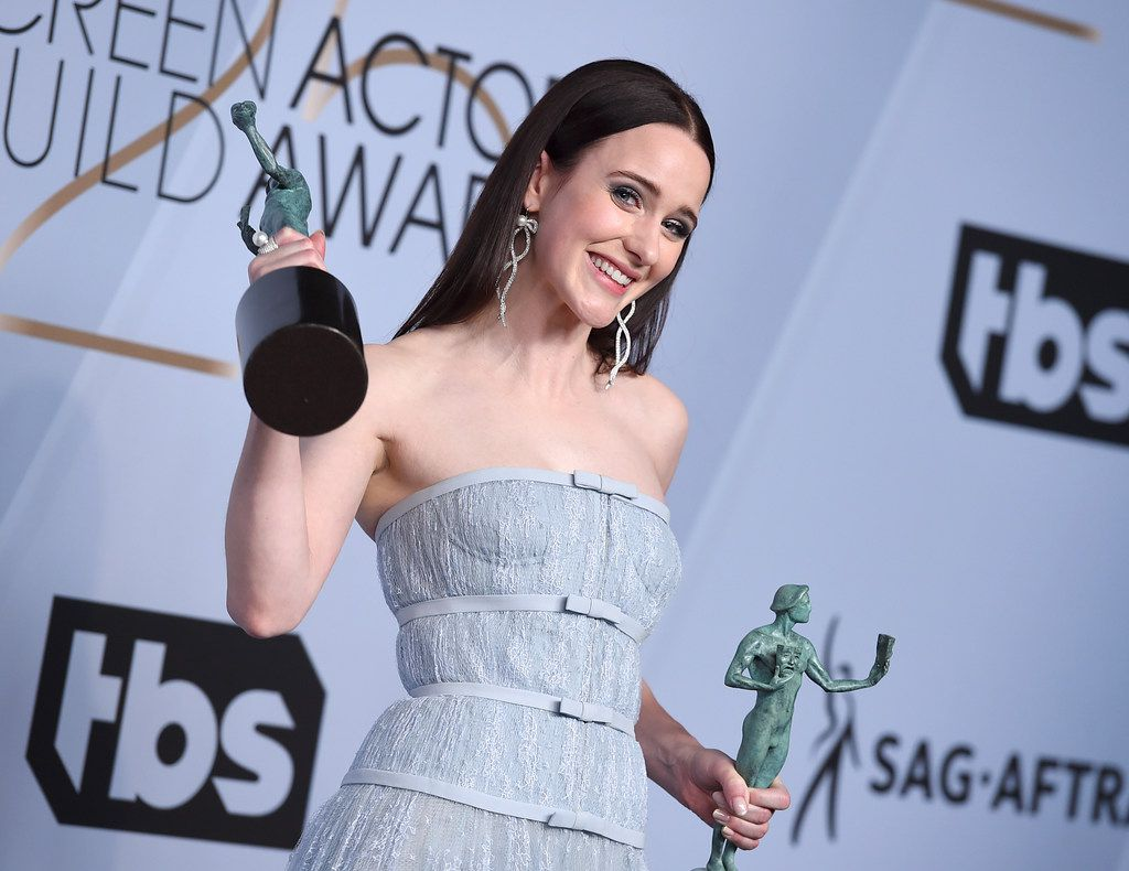 Rachel Brosnahan poses with the awards for outstanding performance by a female actor in a comedy series for The Marvelous Mrs. Maisel in the press room at the 25th annual Screen Actors Guild Awards at the Shrine Auditorium & Expo Hall on Jan. 27, 2019, in Los Angeles.