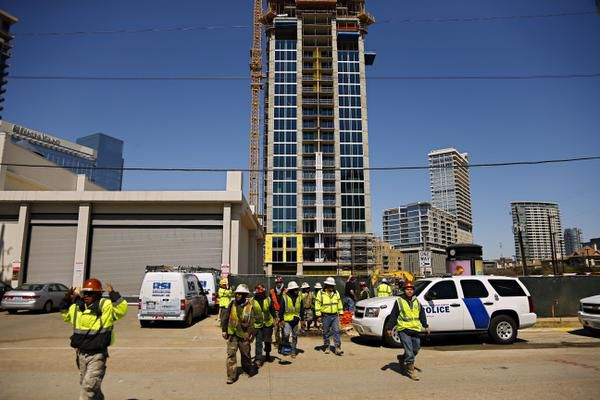 Workers walked away from a construction site on lockdown during the standoff.