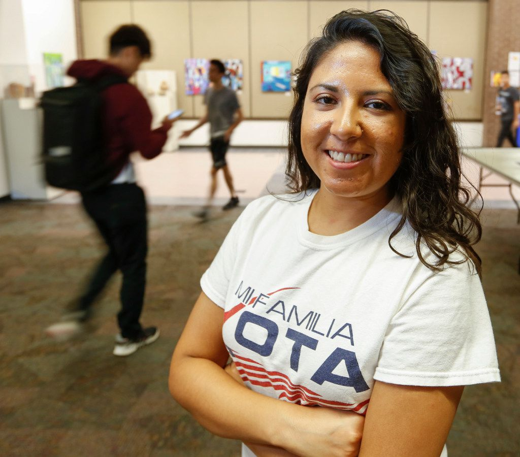 Liz Magallanes registered students to vote at North Lake College. She is the D-FW coordinator of Mi Familia Vota, a nonprofit dedicated to voting rights and other issues.