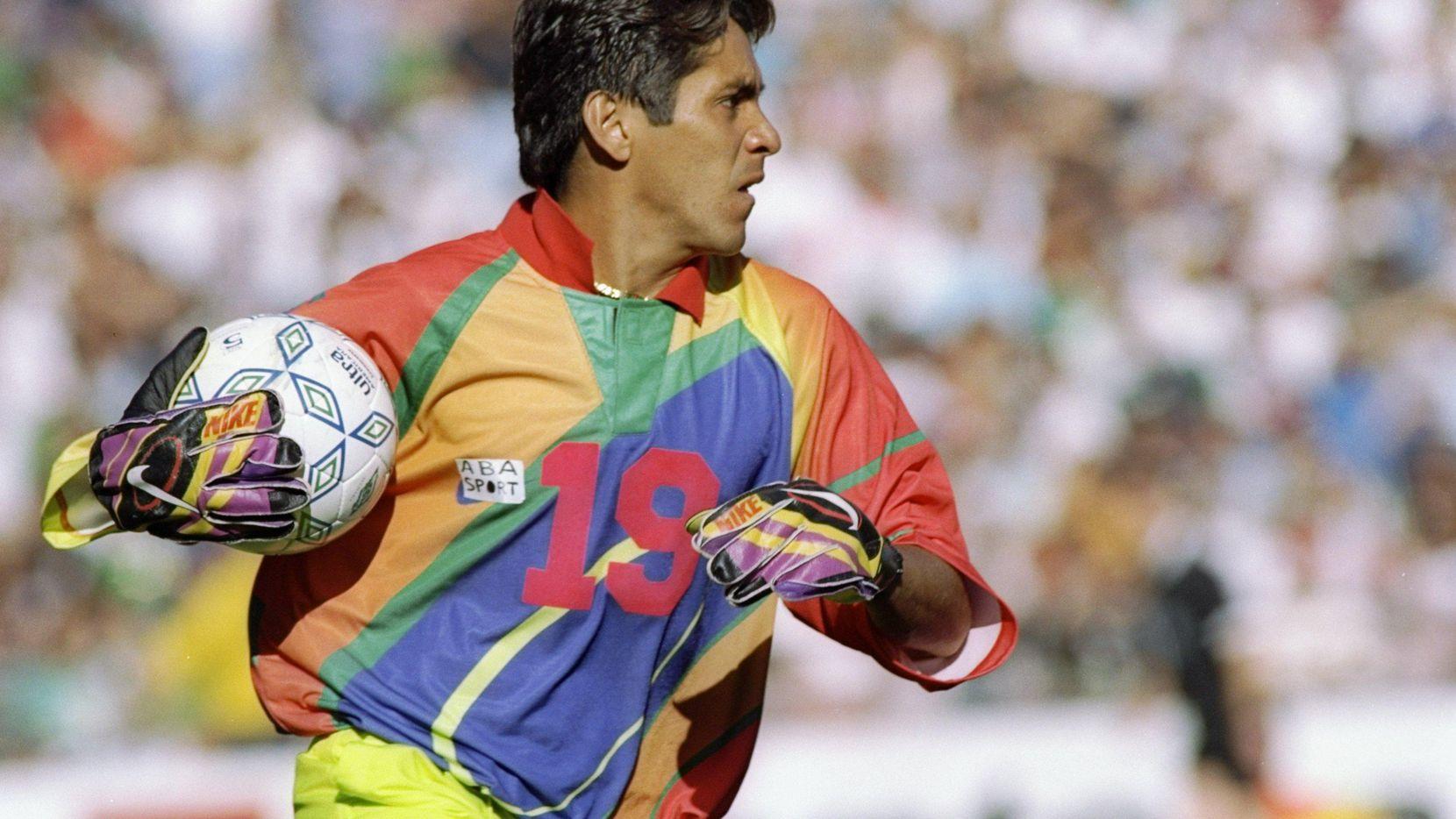 El arquero mexicano Jorge Campos fue mundialista en Estados Unidos 1994, Francia 1998 y Corea del Sur-Japón 2002. (Getty Images/Stephen Dunn)