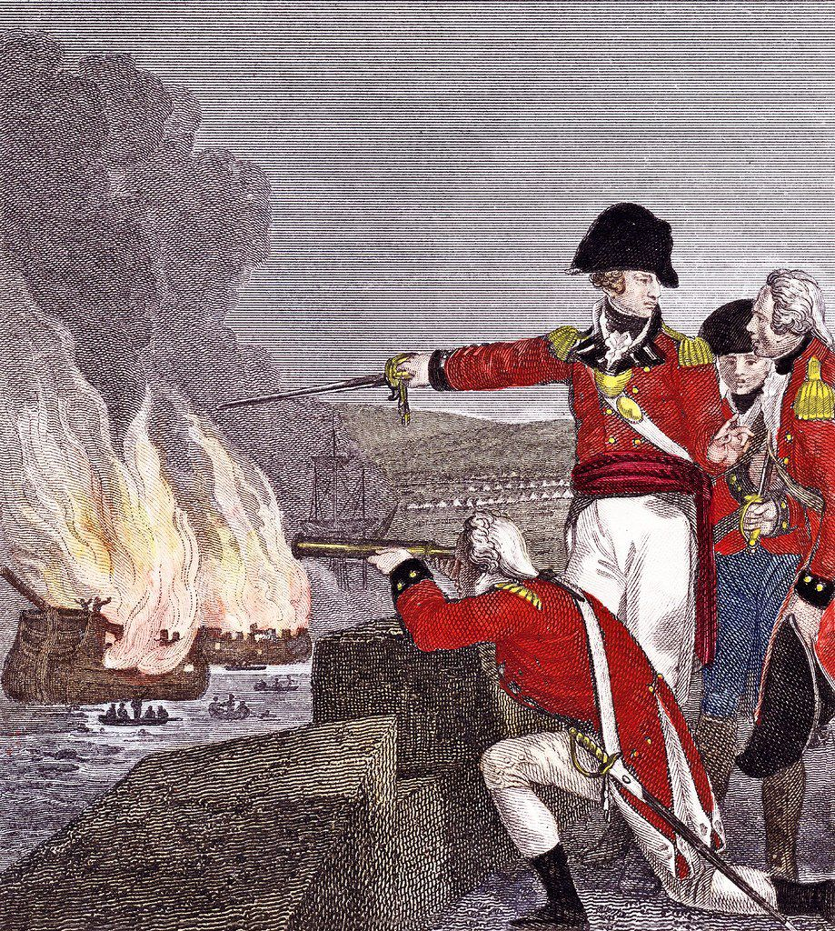 British officers, one with a telescope, watch enemy vessels burn during the siege of Gibraltar. In the distance are the white tents of the French and Spanish camp. From Gibraltar, by Roy Adkins and Lesley Adkins.