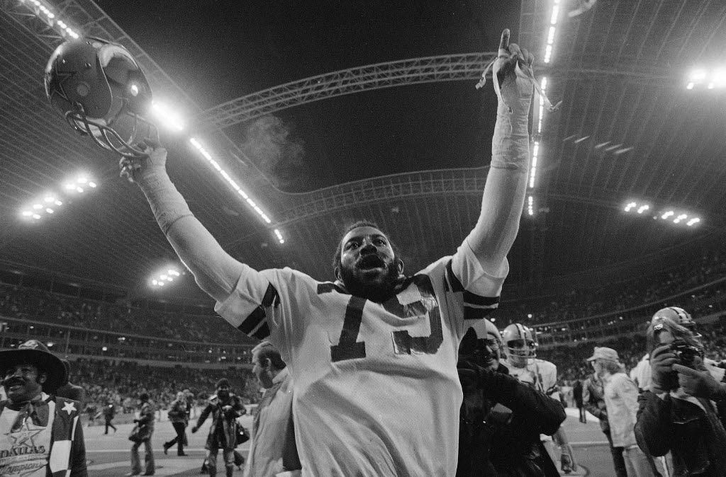 Harvey Martin celebrates the Cowboys' victory over the Minnesota Vikings in the NFC Championship Game on Jan. 1, 1978. The Cowboys would go on to beat the Denver Broncos in Super Bowl XII, with Martin being named the co-MVP. (AP Photo)