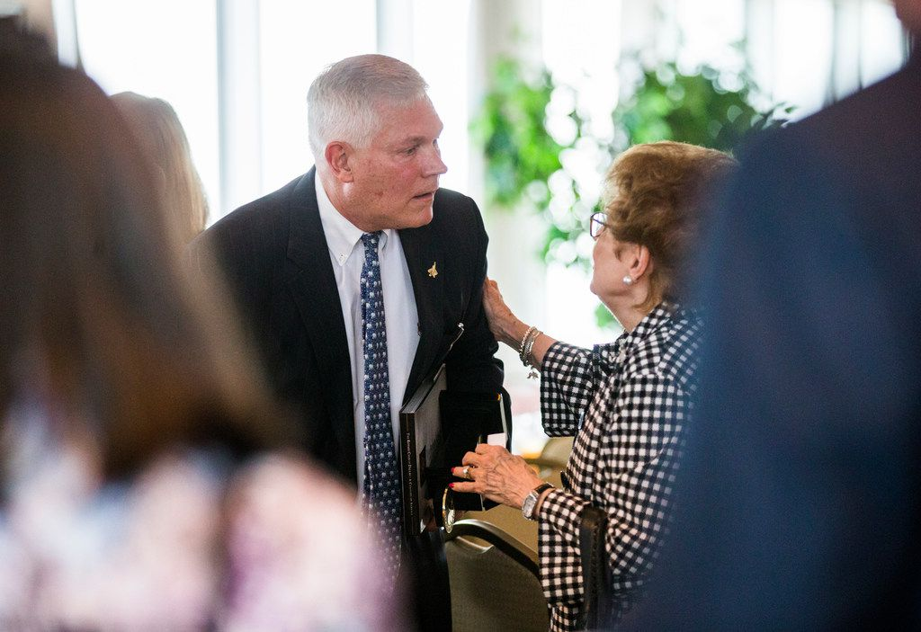 U.S. Rep. Pete Sessions greeted the audience at a Dallas Rotary Club meeting after debating Colin Allred in September.