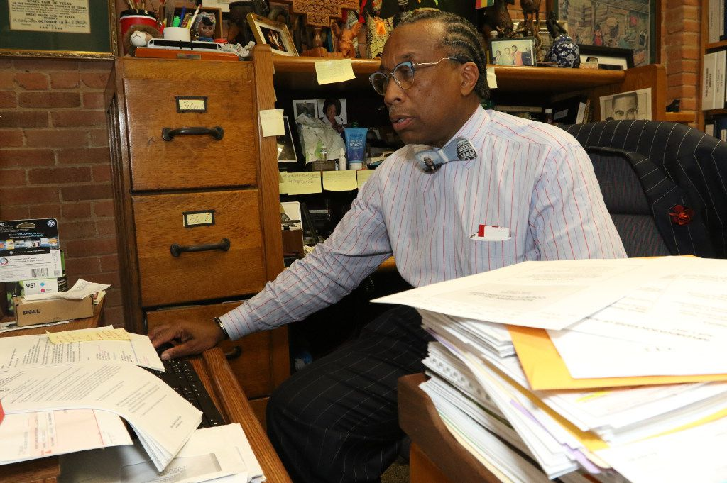Dallas County Commissioner John Wiley Price worked in his Dallas office on April 29.
