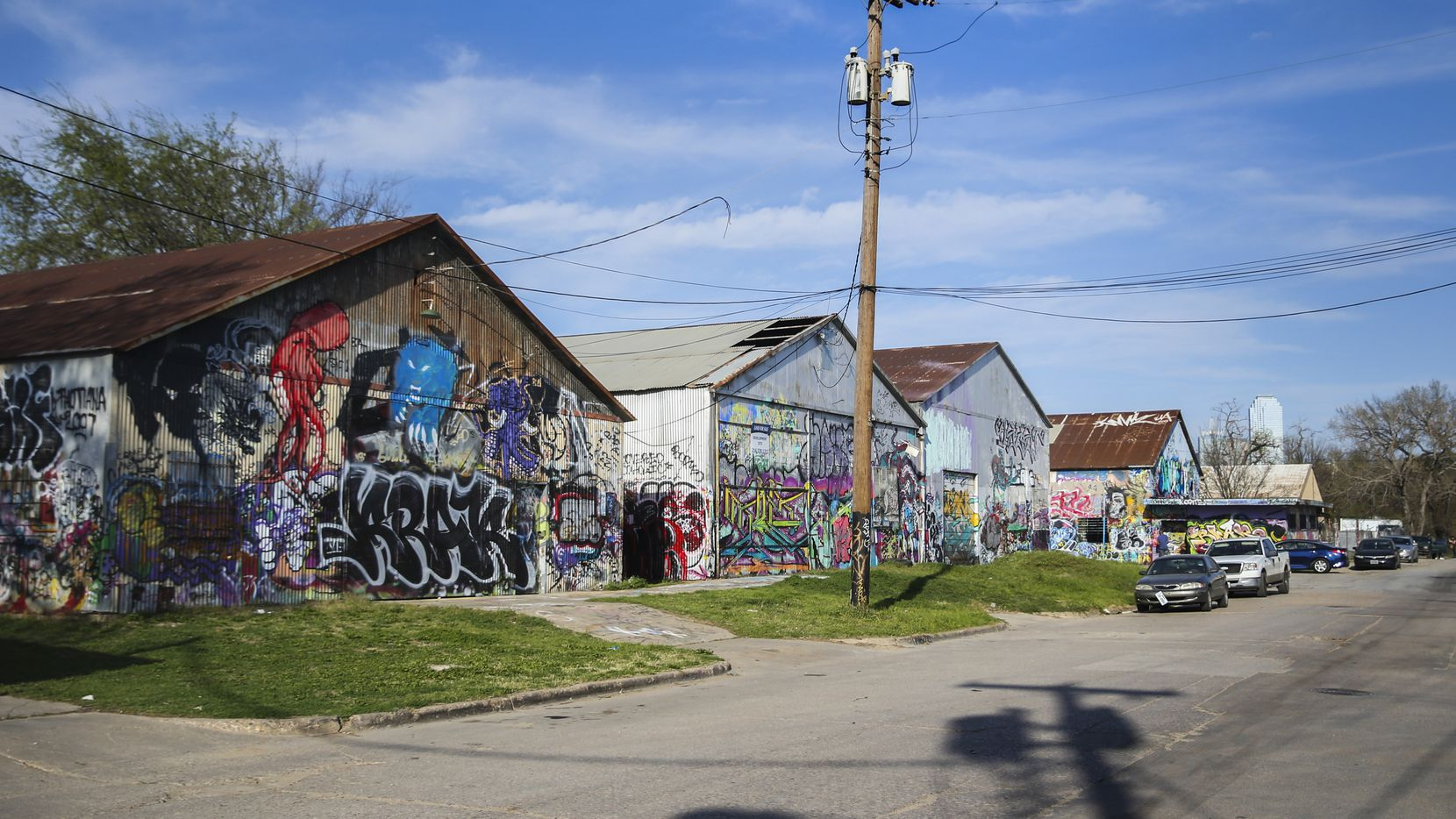 Graffiti is seen at Fabrication Yard near Sylvan Avenue in West Dallas.